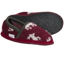 Wesenjak Slipper Moccasins - Boiled Wool (For Men and Women) in Wine/White Deer - Closeouts