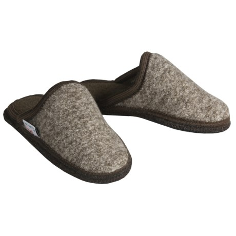 Wesenjak Slipper Slides - Boiled Wool (For Men and Women) in Brown Heather