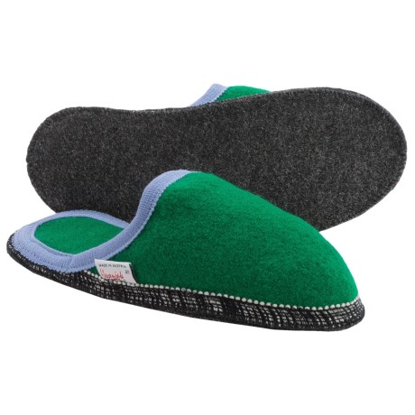 Wesenjak Slipper Slides - Boiled Wool (For Men and Women) in Green