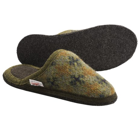 Wesenjak Slipper Slides - Boiled Wool (For Men and Women) in Olive Print
