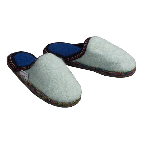 Wesenjak Slipper Slides - Boiled Wool (For Men and Women) in Pale Blue / Multi