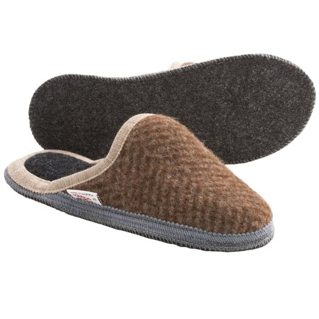 Wesenjak Slipper Slides - Boiled Wool (For Men and Women) in Red Brown Angle Stripe