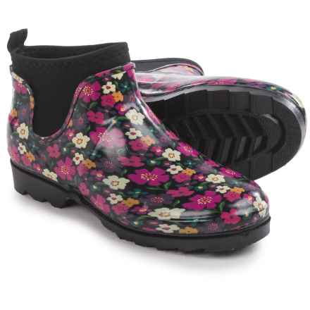 Western Chief Autumn Garden Rain Booties - Waterproof, Slip-Ons (For Women) in Black - Closeouts