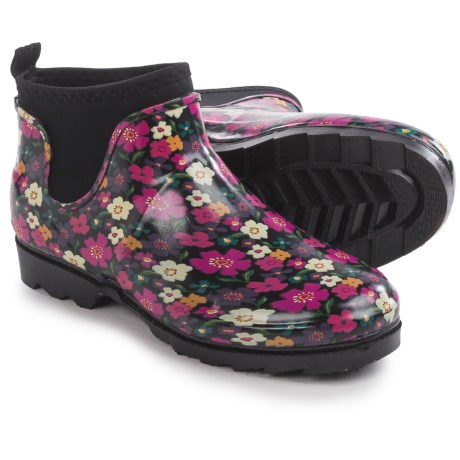 Western chief autumn garden rain booties waterproof slip ons for women in black~p~160hv 01~460.2