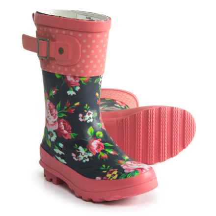 Western Chief Classic Tall Rosie Rain Boots - Waterproof (For Girls) in Navy/Pink - Closeouts