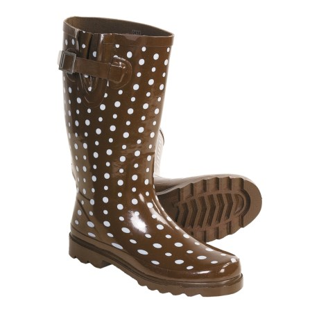 Western Chief Ditsy Dots Rain Boots - Waterproof (For Women) in Brown