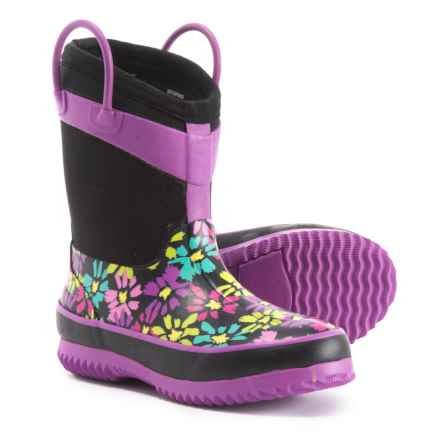 Western Chief Flower Neoprene Rain Boots - Waterproof (For Girls) in Black/Purple - Closeouts