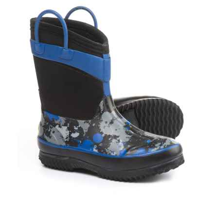 Western Chief Paintball Splat Neoprene Rain Boots - Waterproof (For Little and Big Boys) in Black/Blue - Closeouts