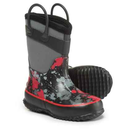 Western Chief Paintball Splat Neoprene Rain Boots - Waterproof (For Little and Big Boys) in Charcoal - Closeouts