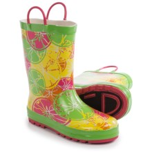 Western Chief Pattern Rain Boots - Waterproof (For Little Kids) in Crazy Citrus/Green - Closeouts