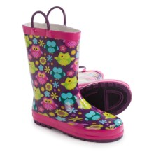 Western Chief Pattern Rain Boots - Waterproof (For Little Kids) in Flower Owls - Closeouts