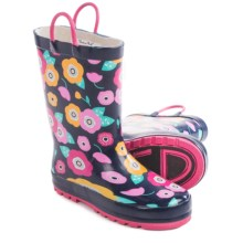 Western Chief Pattern Rain Boots - Waterproof (For Little Kids) in Pretty Petunias/Navy - Closeouts