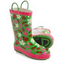 Western Chief Pattern Rain Boots - Waterproof (For Toddlers) in Lovely Ladybugs/Green - Closeouts