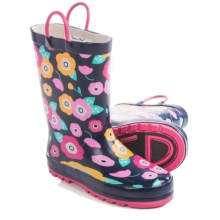Western Chief Pattern Rain Boots - Waterproof (For Toddlers) in Pretty Petunias/Navy - Closeouts