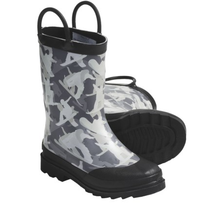 Western Chief Rain Boots (For Kids and Youth) in Black Shark Sign