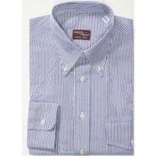 Western Dress Shirt - Button-Down, Long Sleeve (For Men) in White/Purple/Double Black Stripe - Closeouts