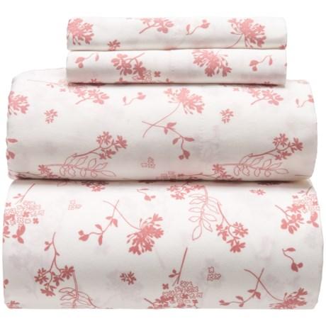 Westport Home Abundance Floral Sheet Set - King, Organic Cotton, 300 TC in Mauve