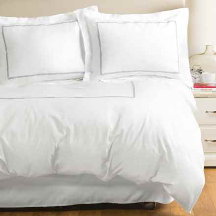 Westport Home Circle Link Embroidered Duvet Set - Full-Queen, 300 TC in Platinum - Closeouts