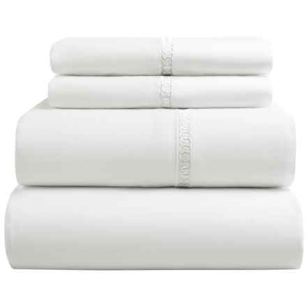 Westport Home Circle Link Embroidered Sheet Set - King, 300 TC in White - Closeouts