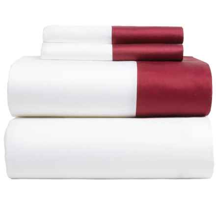 Westport Home Color-Block Sheet Set - Full, 400 TC, Deep Pockets in Ruby - Closeouts