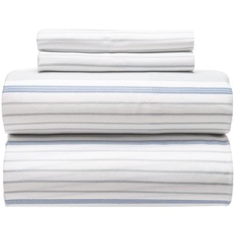 Westport Home Cozy Stripe Sheet Set - King, Organic Cotton, 300 TC in Blue