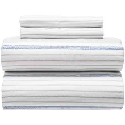 Westport Home Cozy Stripe Sheet Set - Queen, Organic Cotton, 300 TC in Blue - Closeouts
