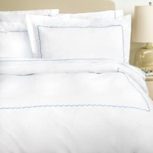 Westport Home Embroidered Scallop Duvet Set - 300 TC Cotton Percale, King in Blue - Overstock