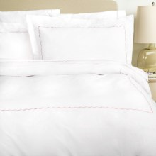 Westport Home Embroidered Scallop Duvet Set - 300 TC Cotton Percale, King in Rose - Overstock