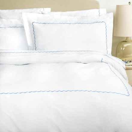 Westport Home Embroidered Scallop Duvet Set - Full-Queen, 300 TC in Blue - Overstock