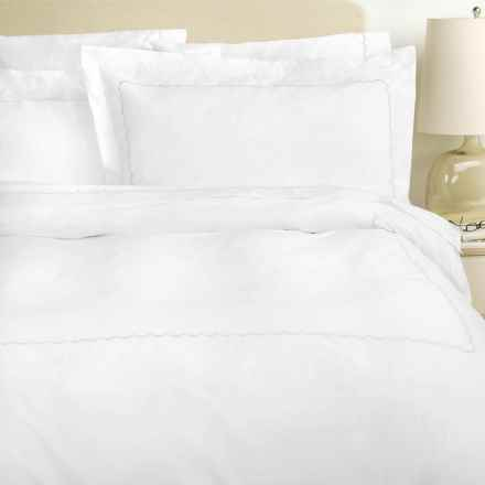 Westport Home Embroidered Scallop Duvet Set - Full-Queen, 300 TC in White - Overstock