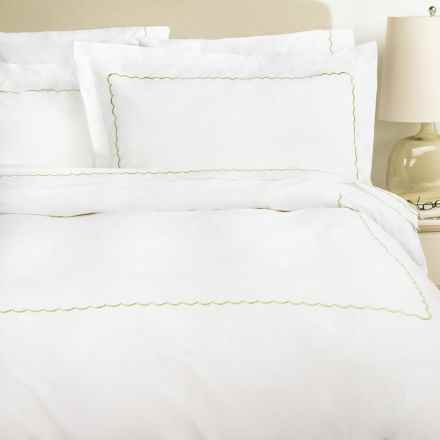 Westport Home Embroidered Scallop Duvet Set - King, 300 TC Cotton Percale in Sage - Overstock