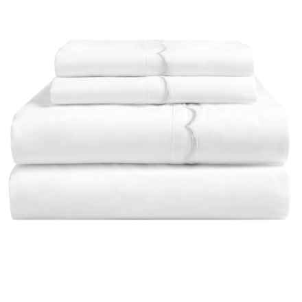 Westport Home Embroidered Scallop Sheet Set - King, 300 TC Cotton Percale in White - Overstock
