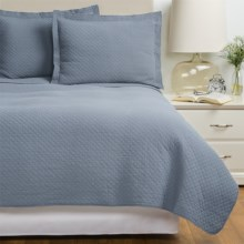 Westport Home Quilt and Sham Set - King in Grey / Blue - Overstock