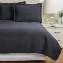 Westport Home Quilt and Sham Set - Twin in Charcoal / Stone - Overstock