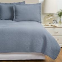 Westport Home Quilt and Sham Set - Twin in Grey / Blue - Overstock