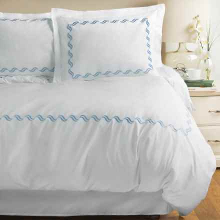 Westport Home Scroll Embroidered Duvet Set - Full-Queen, 300 TC in Blue - Closeouts