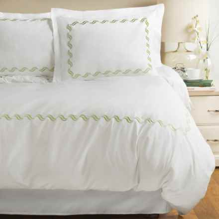 Westport Home Scroll Embroidered Duvet Set - Full-Queen, 300 TC in Sage - Closeouts