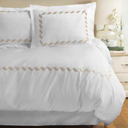 Westport Home Scroll Embroidered Duvet Set - King, 300 TC in Taupe - Closeouts