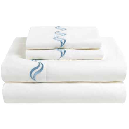 Westport Home Scroll Embroidered Sheet Set - Full, 300 TC in Blue - Closeouts
