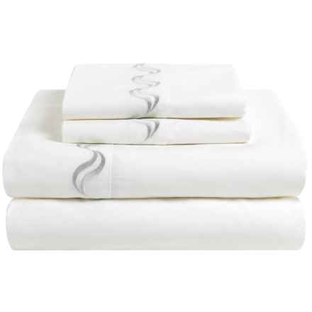 Westport Home Scroll Embroidered Sheet Set - Queen, 300 TC in White - Closeouts