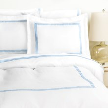 Westport Home Triple Merrow Stitch Duvet Set - 300 TC Cotton, Full-Queen in Blue - Overstock