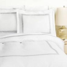 Westport Home Triple Merrow Stitch Duvet Set - 300 TC Cotton, Full-Queen in Platinum - Overstock