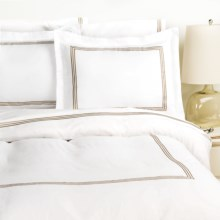 Westport Home Triple Merrow Stitch Duvet Set - 300 TC Cotton, Full-Queen in Taupe - Overstock