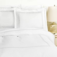 Westport Home Triple Merrow Stitch Duvet Set - 300 TC Cotton, Full-Queen in White - Overstock