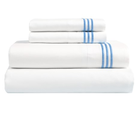 Westport Home Triple Merrow Stitch Sheet Set - 300 TC Cotton, Queen in Blue
