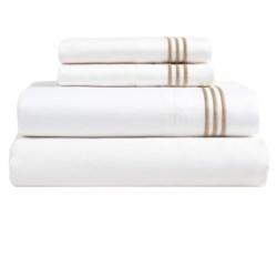 Westport Home Triple Merrow Stitch Sheet Set - 300 TC Cotton, Queen in White