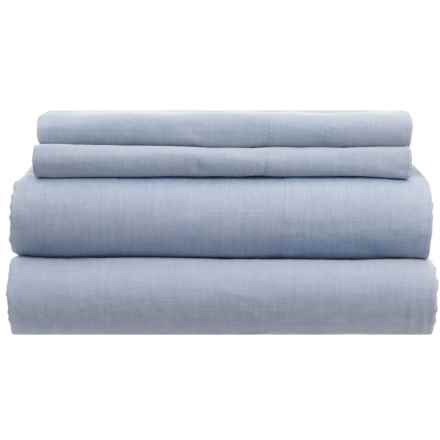 Westport Home Yarn-Dyed Chambray Sheet Set - King, 200 TC in Blue - Closeouts