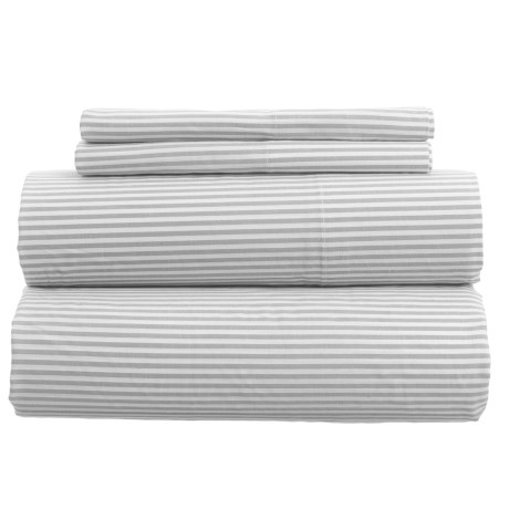 Westport Home Yarn-Dyed Oxford Stripe Duvet Set - King, 200 TC in Grey