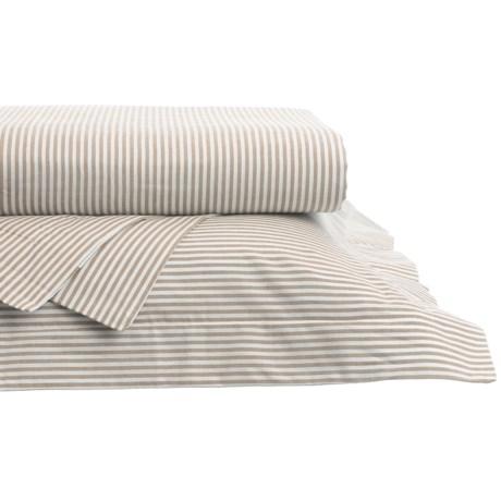 Westport Home Yarn-Dyed Oxford Stripe Sheet Set - King, 200 TC in Sand
