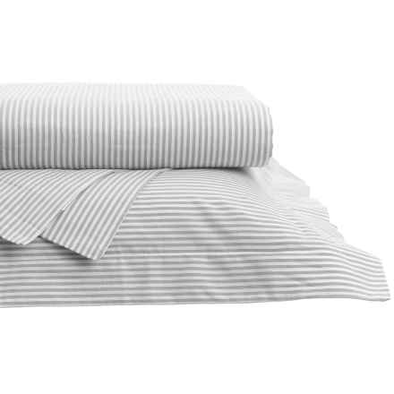 Westport Home Yarn-Dyed Oxford Stripe Sheet Set - Queen, 200 TC in Grey - Closeouts